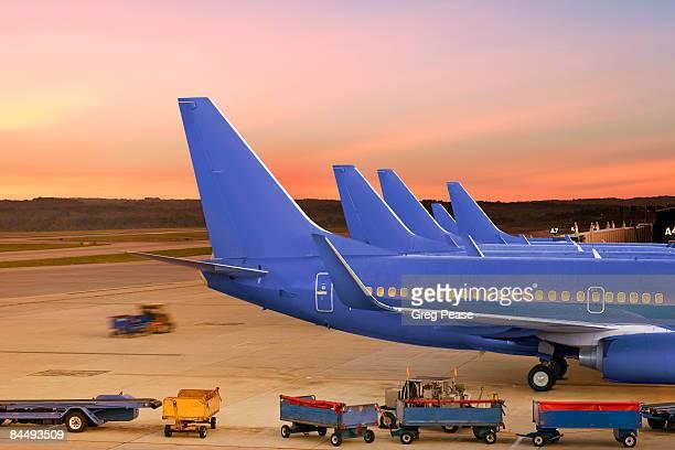 Servicing Passenger Jets at Airport Terminal