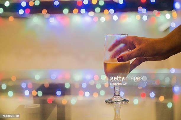 Serving beer in glass.