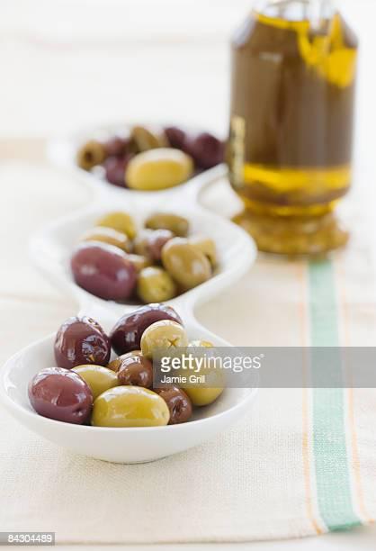 Serving bowl of assorted olives
