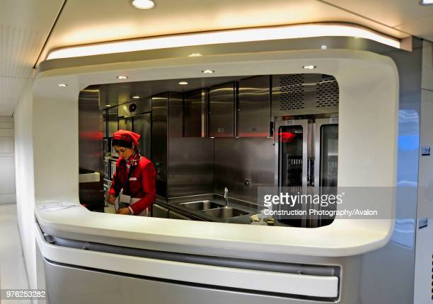 Serving hatch in the dining car of a Wenzhou to Fuzhou service on the Ningbo - Wenzhou - Fuzhou High Speed line, China. 18th February 2010, 17th...