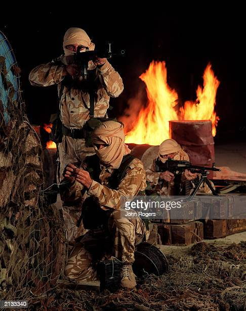 Serving members of the Elite SAS regiment in a reconstruction filmed at a cement works in Hertfordshire UK for a drama programme based on the Iranian...