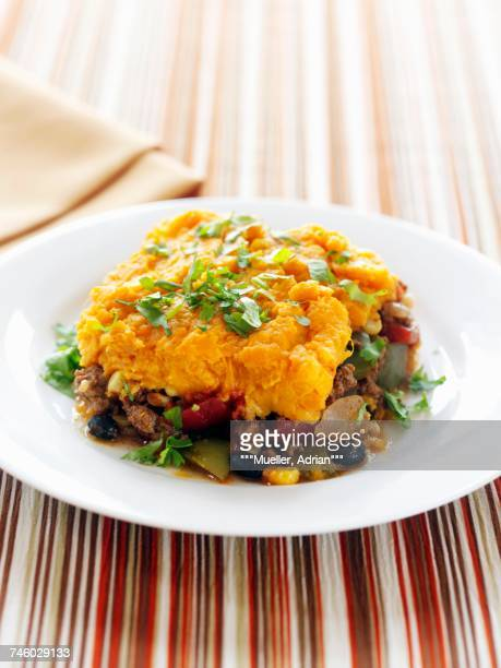 A Serving of Shepherds Pie Topped with Sweet Potato on a White Plate