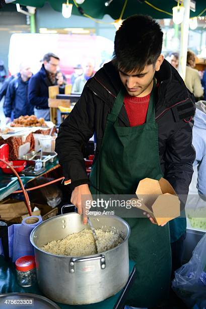 Serving rice at Borough Market