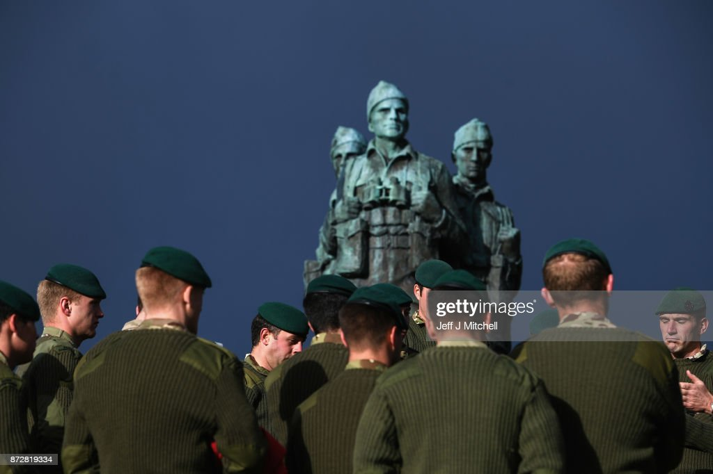 Serving servicemen and veterans gather at Commando Memorial, Spean Bridge where they observed a two minute silence as a mark of respect for the war dead on November 11, 2017 in Spean Bridge, Scotland. Armistice Day traditionally marks the end of the WWI when Germany and the allied forces signed the armistice signaling the end of hostilities on the Western Front. The cessation of the war officially took effect on the eleventh hour of the eleventh day of the eleventh month and is marked annually by services of remembrance for all those who have fallen in wars and a two minute silence.