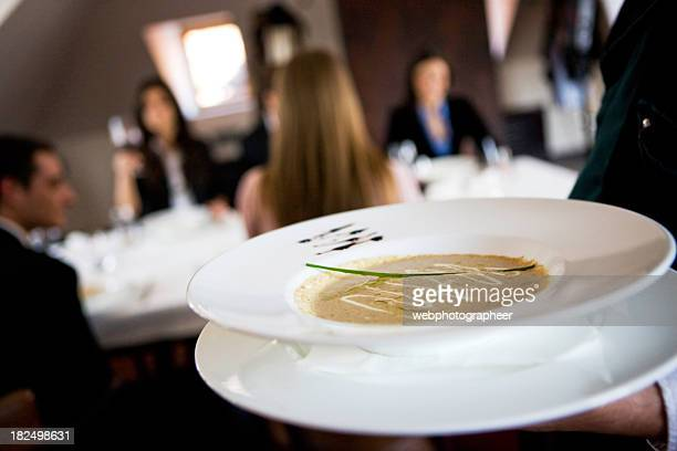 serving soup - course meal stock pictures, royalty-free photos & images