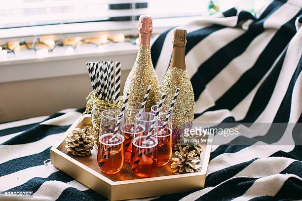 serving tray of champagne goodness - champagne colored stock pictures, royalty-free photos & images