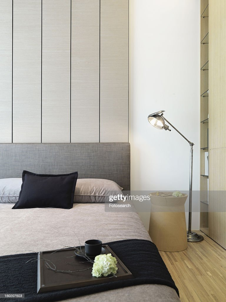 Foot Of The Bed serving tray on foot of modern bed high-res stock photo