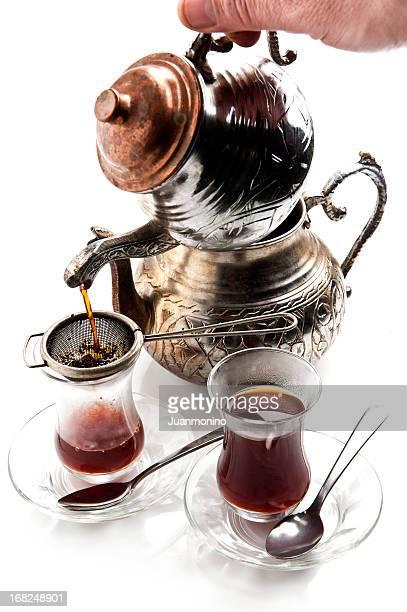 Serving Turkish tea