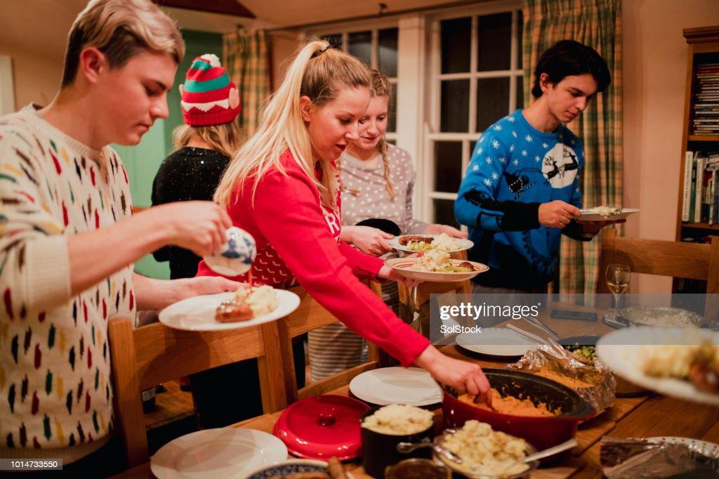 Serving Up Christmas Dinner : Stock Photo