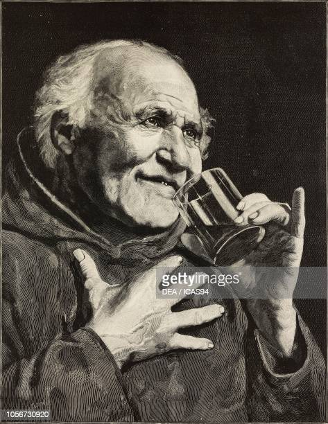 Servite Dominum in Laetitia old man drinking engraving by E Mancastroppa from a painting by Emanuele Correa and a photograph by Brogi the magazine...