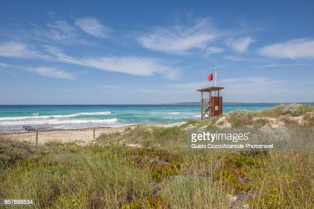 ses illetes beach, lifeguard watchtower - lookout tower stock pictures, royalty-free photos & images