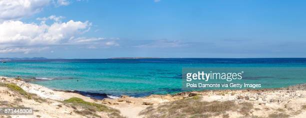 ses illettes, formentera coastline idyllic beach in balearic islands, spain - emerald green stock pictures, royalty-free photos & images
