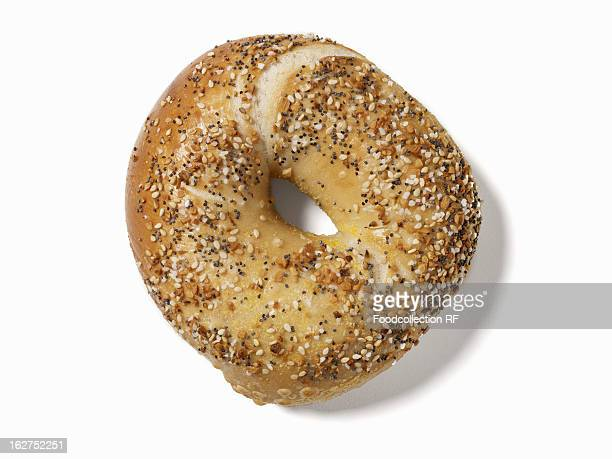 Sesame and poppy seed bagel with salt