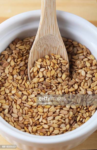Sesame seeds in a bowl with wooden spoon, close-up