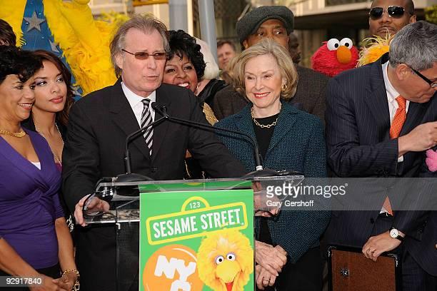 "Sesame Street"" cast member Sonia Manzano, NYC & Company CEO George Fertitta, ""Sesame Street"" creator Joan Ganz Cooney, and Sesame Workshop President..."