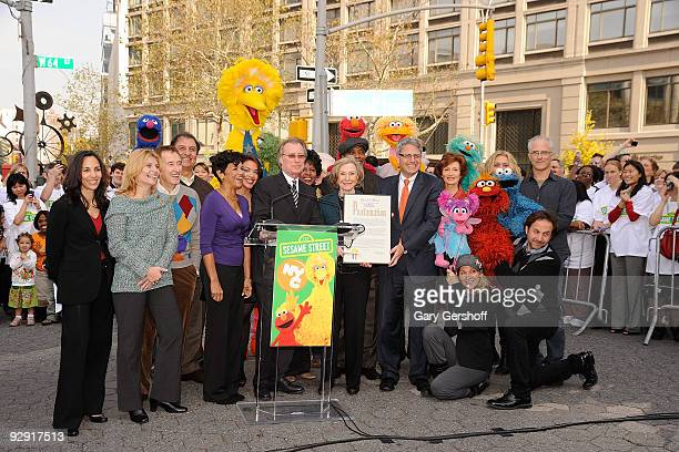 Sesame Street cast members Alison Bartlett O'Reilly Bob McGrath Sonia Manzano NYC Company CEO George Fertitta Sesame Street creator Joan Ganz Cooney...