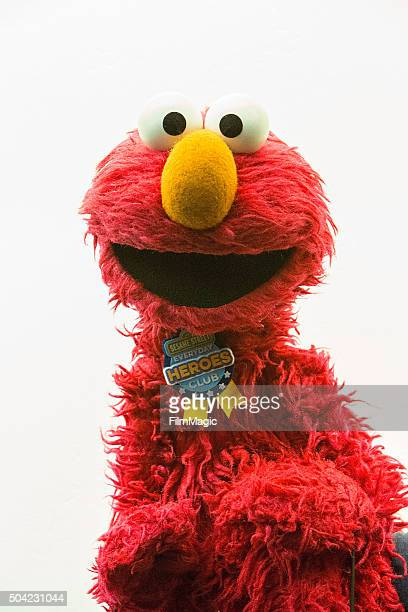 Sesame Street character Elmo poses backstage at Sesame Street and HBO Host Free Museum Day with a special performance by Elmo and Friends at The New...