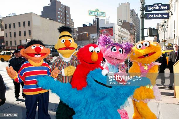 Sesame Street Characters attends the temporary street renaming to celebrate the 30th anniversary of Sesame Street Live on 31st Street 8th Avenue on...