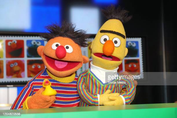 Sesame Street characters Bert and Ernie during the presentation of the NDR and Deutsche Post commemorative stamp of 'Sesamstrasse' on March 2, 2020...