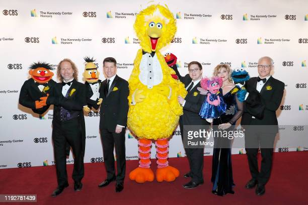 Sesame Street characters Ernie Bert Big Bird Elmo Abby Cadabby and Cookie Monster attend the 42nd Annual Kennedy Center Honors at Kennedy Center Hall...