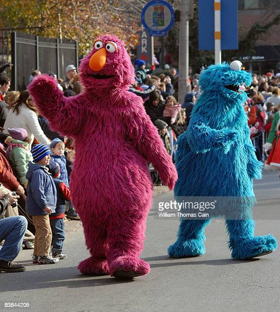 Sesame Street characters greet the crowd during the 6ABC/IKEA Thanksgiving Day Parade November 27, 2008 in Philadelphia, Pennsylvania. The...