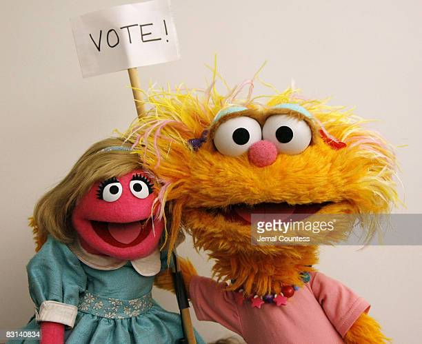 Sesame Street Characters Prairie Dawn and Zoe attend a portrait session for the You Vote Campaign at 1100 6th Ave on September 19 2007 in New York...