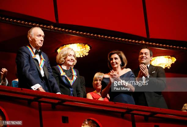 Sesame Street cofounders and Kennedy Center Honorees Lloyd Morrisett and Joan Ganz Cooney are applauded by House Speaker Nancy Pelosi and others at...