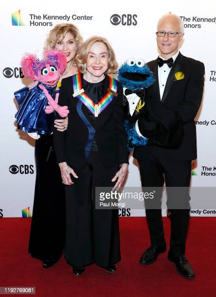 Sesame Street Creator Joan Ganz Cooney and characters Abby Cadabby and Cookie Monster attend the 42nd Annual Kennedy Center Honors Kennedy Center on...