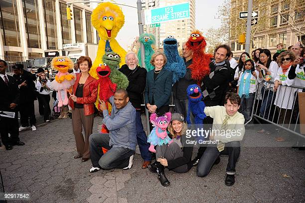 """Sesame Street"""" creator Joan Ganz Cooney and the """"Sesame Street"""" characters attend the """"Sesame Street"""" 40th Anniversary temporary street renaming in..."""