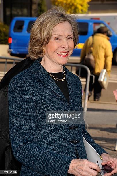 "Sesame Street"" creator Joan Ganz Cooney attends the ""Sesame Street"" 40th Anniversary temporary street renaming in Dante Park on November 9, 2009 in..."