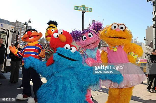 Sesame Street Live charactors Ernie, Bert, Elmo, Abby Cadabby, Zoe and Cookie Monster celebrate the renaming of the corner of 31st Street and Eighth...