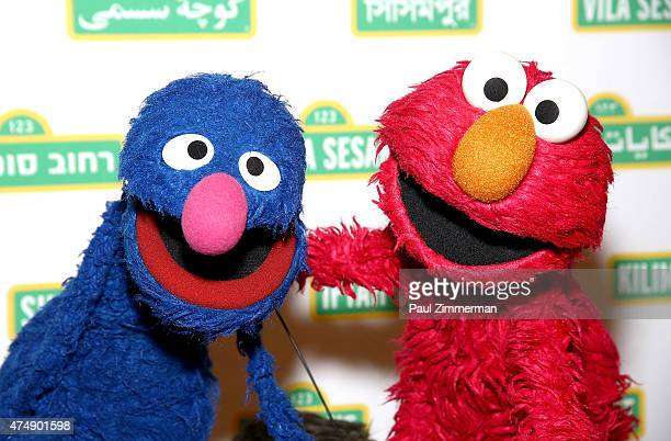 Sesame Street Muppets 'Grover' and 'Elmo' attends the Sesame Workshop's 13th Annual Benefit Gala at Cipriani 42nd Street on May 27 2015 in New York...