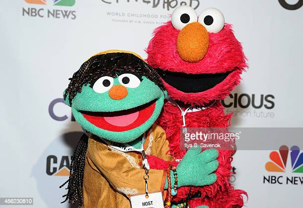 Sesame Street muppets Raya and Elmo attend VIP Lounge at the 2014 Global Citizen Festival to end extreme poverty by 2030 in Central Park on September...