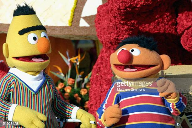 Sesame Street's Bert and Ernie ride the 'Music Makes us Family' float in the 116th Tournament Of Roses Parade on January 1 2005 in Pasadena California