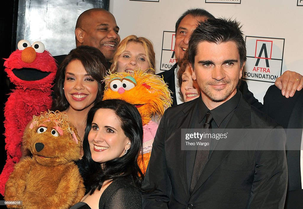 Sesame Street's Desiree Casado, Kevin Clash, Stephanie D'Abruzzo, Alison Bartlett O'Reilly and musician Juanes attend the 2010 AFTRA AMEE Awards at The Grand Ballroom at The Plaza Hotel on February 22, 2010 in New York City.