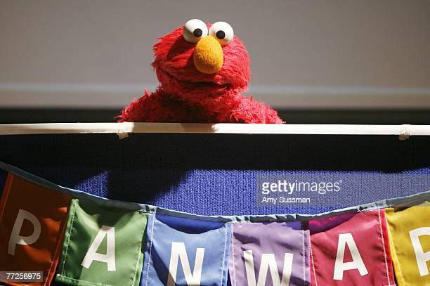 Sesame Street's Elmo attends a press conference to announce a new worldwide initiative Panwapa from Sesame Workshop at the United Nations...
