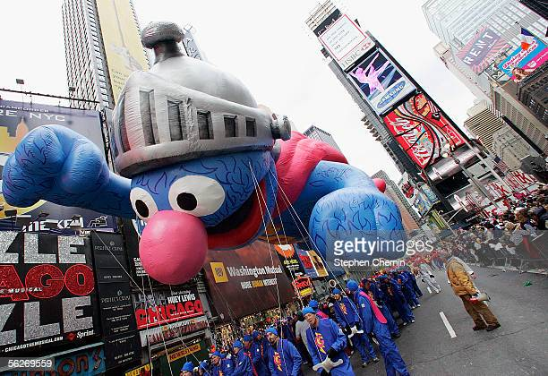 Sesame Street's Grover balloon makes its way down Broadway during the Macy's Thanksgiving Day Parade, on November 24, 2005 in New York City.