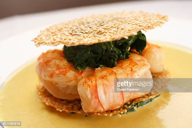 Sesame Wafers with Langoustines and Spinach