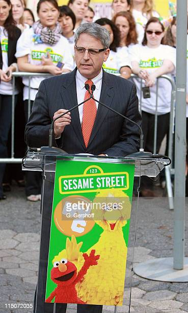 """Sesame Workshop President and CEO Gary E. Knell attends the """"Sesame Street"""" 40th Anniversary temporary street renaming in Dante Park on November 9,..."""