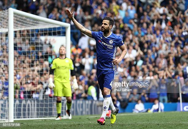 Sesc Fabregas of Chelsea celebrates scoring his team's first goal from the penalty spot during the Barclays Premier League match between Chelsea and...