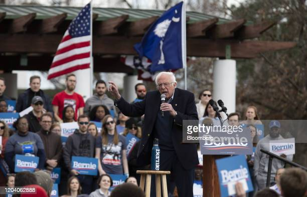 SeSenator Bernie Sanders an Independent from Vermont and 2020 presidential candidate speaks during a Get Out The Vote Rally at Finlay Park in...
