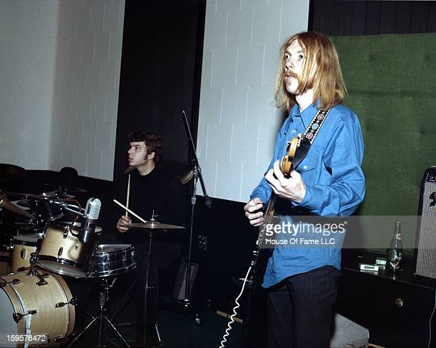 Session guitarist Duane Allman and session drummer Johnny Sandlin rehearse at FAME Studios in 1968 in Muscle Shoals Alabama
