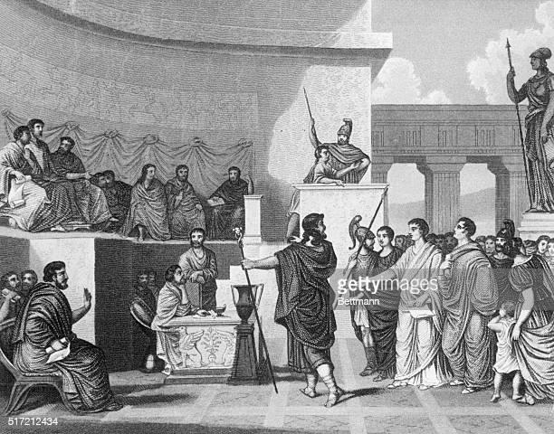 Session of the Roman Senate Undated copper engraving