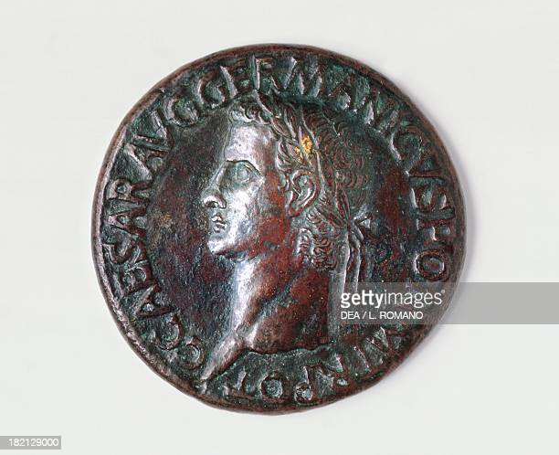 Sestertius of Caligula bearing the image of the emperor recto Roman coins 1st century AD Naples Museo Archeologico Nazionale