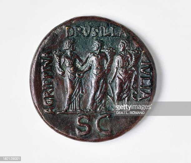 Sestertius of Caligula verso Roman coins 1st century AD Naples Museo Archeologico Nazionale