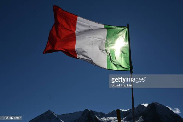 Sestriere / Italian Flag / Landscape / Mountains / Snow / Detail view / during the 103rd Giro d'Italia 2020, Stage 20 a 190km stage from Alba to...