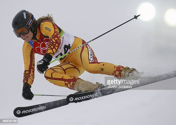 Brigitte Acton from Canada is seen 24 February 2006 during the Ladies Giant Slalom 1st run in Sestriere Colle Italy Acton clocked 10207 The Turin...