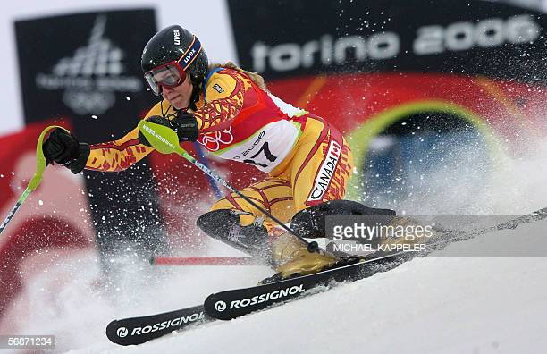 Brigitte Acton from Canada speeds down the course 17 February 2006 during the Women's Combined Slalom 1st run in Sestriere Colle Italy Acton stopped...