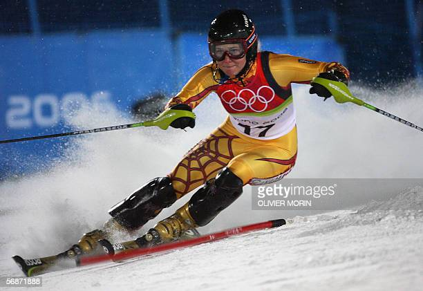 Brigitte Acton from Canada speeds down the course 17 February 2006 during the Women's Combined Slalom 2nd run in Sestriere Colle Italy Acton clocked...