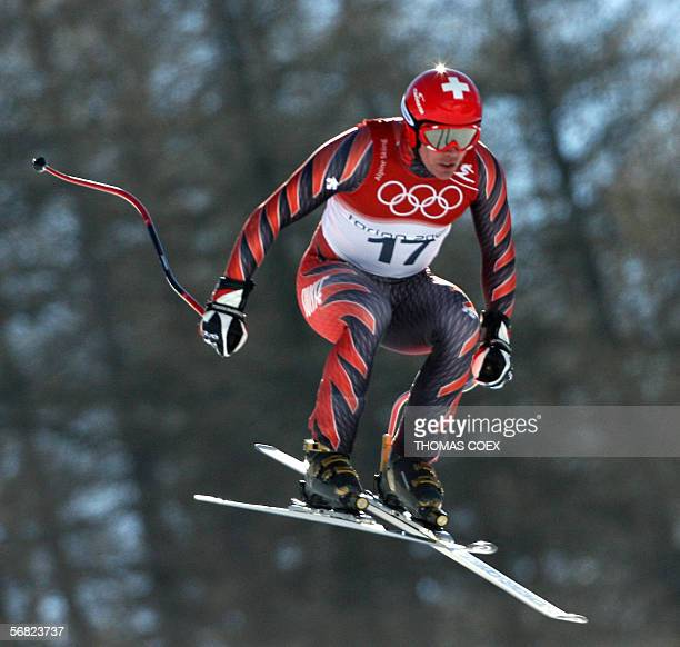 Bruno Kernen from Switzerland is airborne 11 February 2006 during the Men's Downhill third and last training run in Sestriere Borgata Italy The Turin...